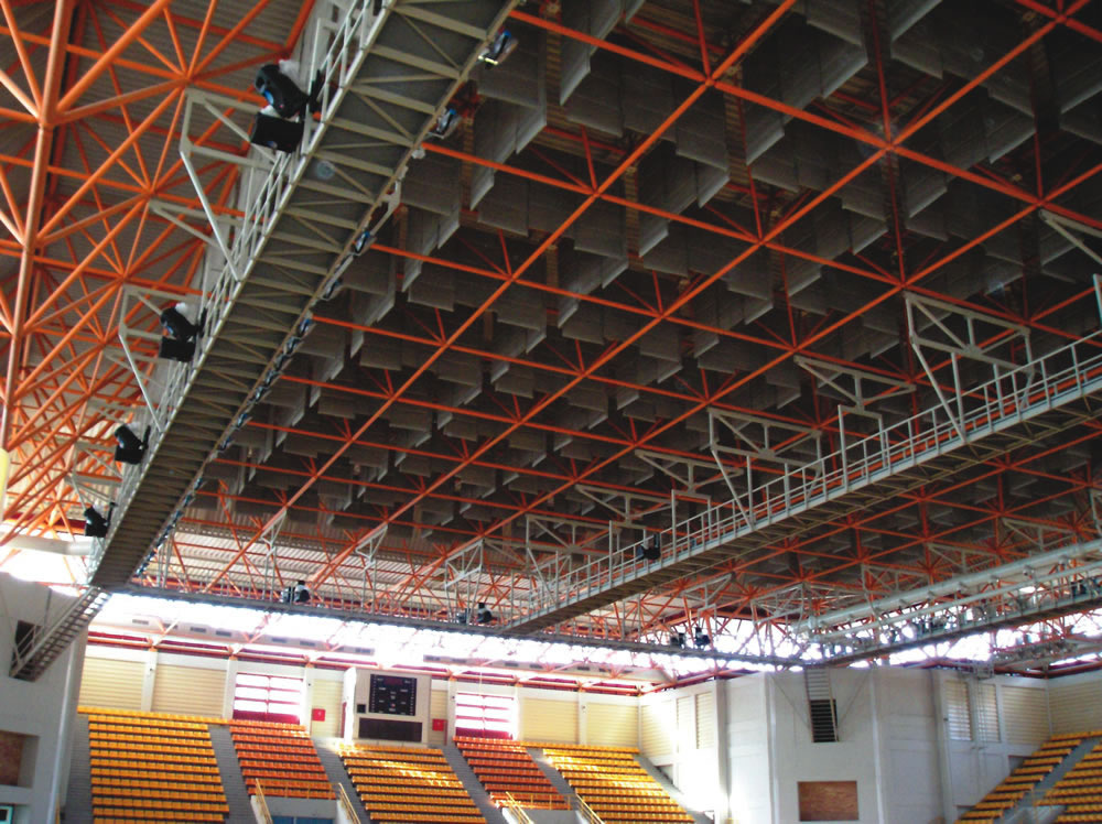 indoor stadium with acoustic baffles