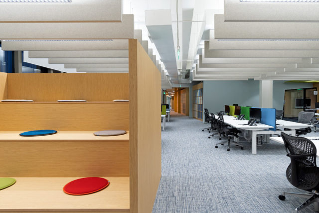 open plan office acoustic baffles installation