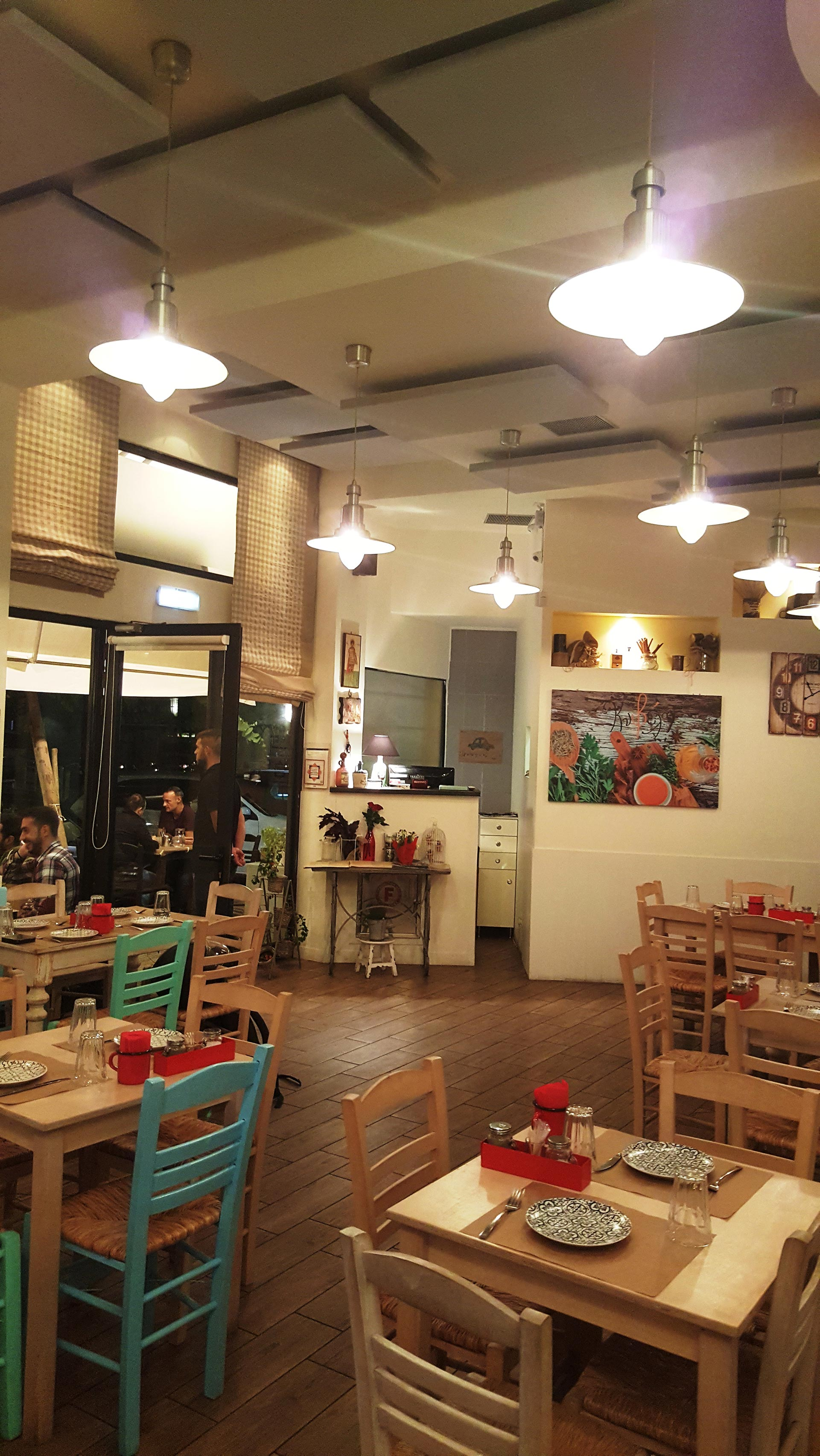 restaurant acoustic treatment with fabric acoustic panels