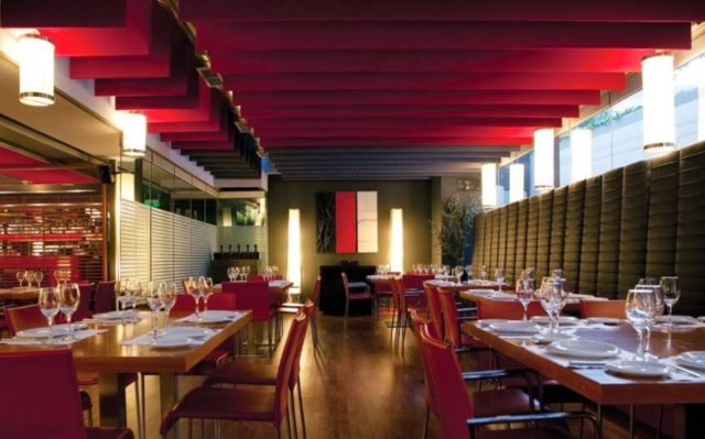 red ceiling acoustic panels in a restaurant
