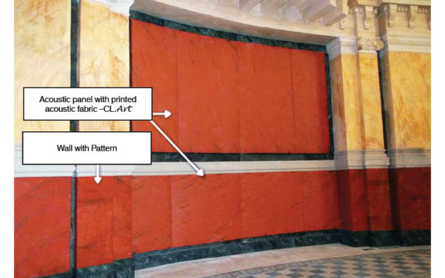 Application with printed acoustic textile matching wall pattern