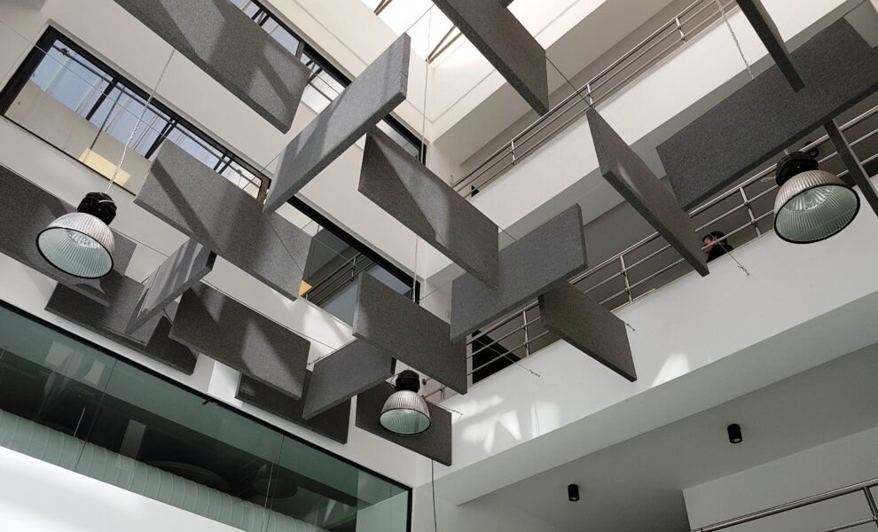 vertical ceiling baffles grey
