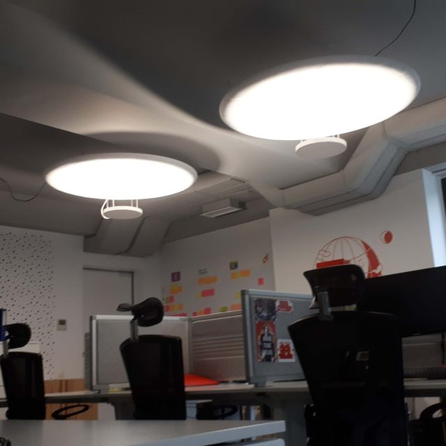 Round Acoustic panel with reflective lighting system
