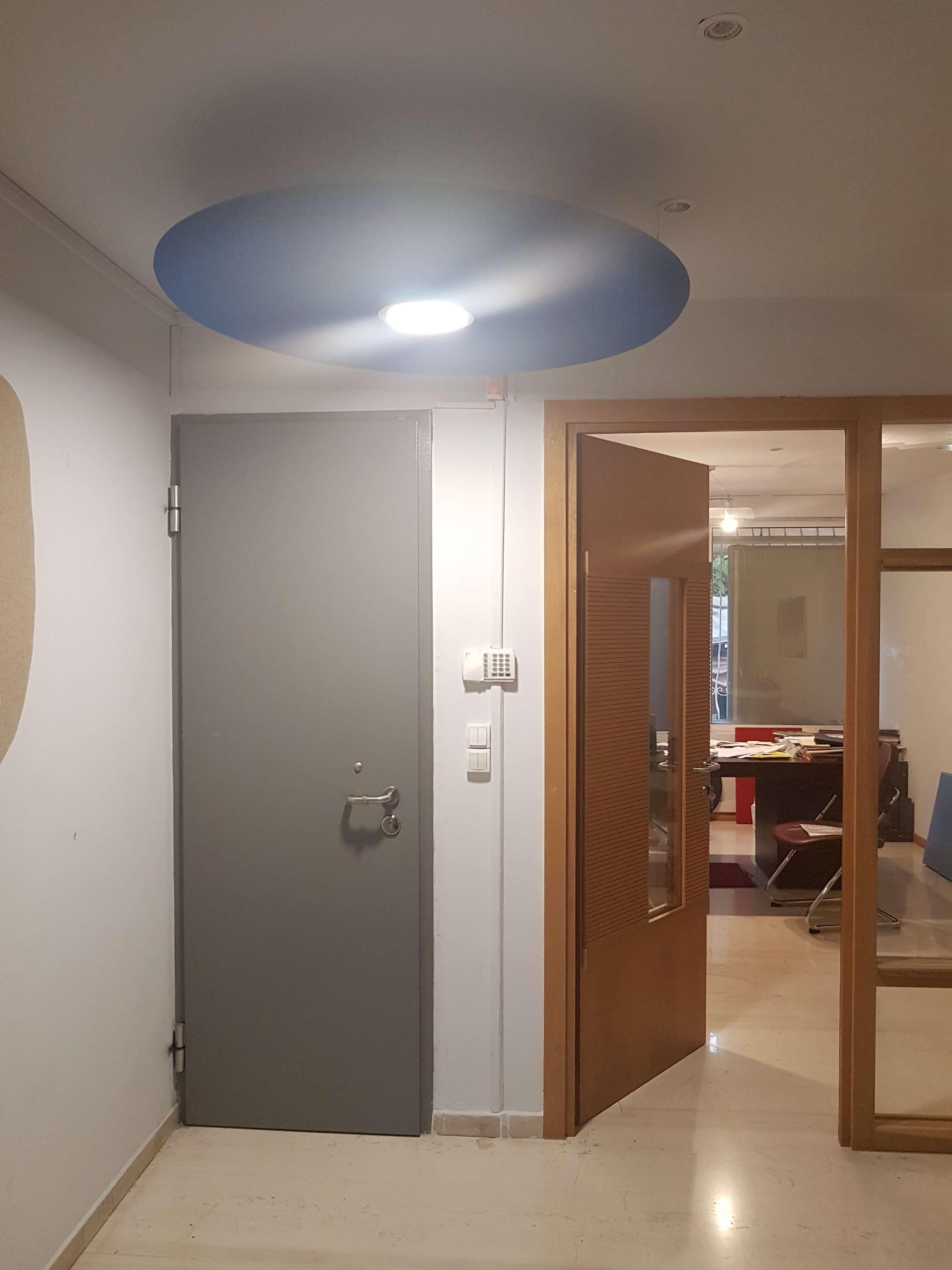Round acoustic panel with in-built light