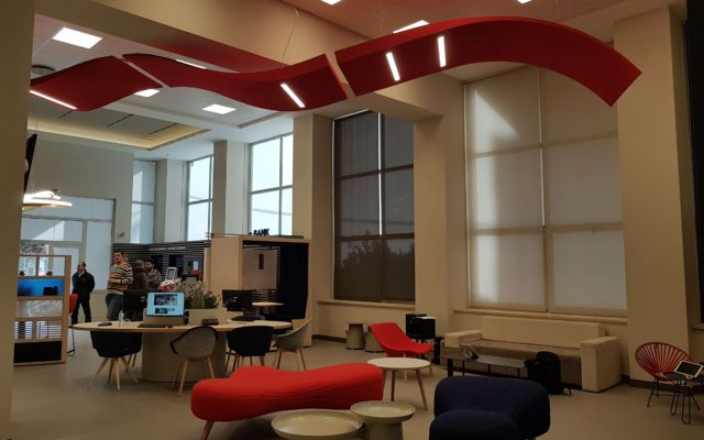 Acoustic panel with LED lighting system