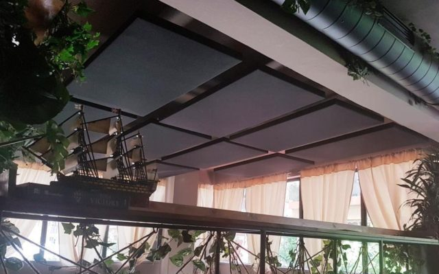 Ceiling Acoustic Panels in Bar for Echo reduction