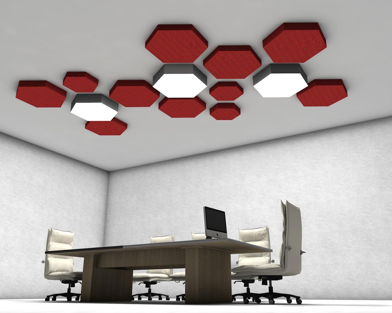 πολυγωνικό φωτιστικό ηχοαπορροφητικό πάνελ γραφείου