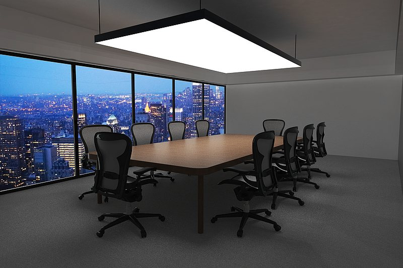 sound dampening led light ceiling panel in office