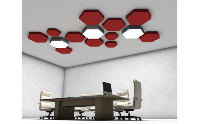 office ceiling panel with light polygonal