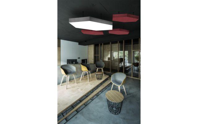 πολυγωνικό φωτιστικό ηχοαπορροφητικό πάνελ οροφής
