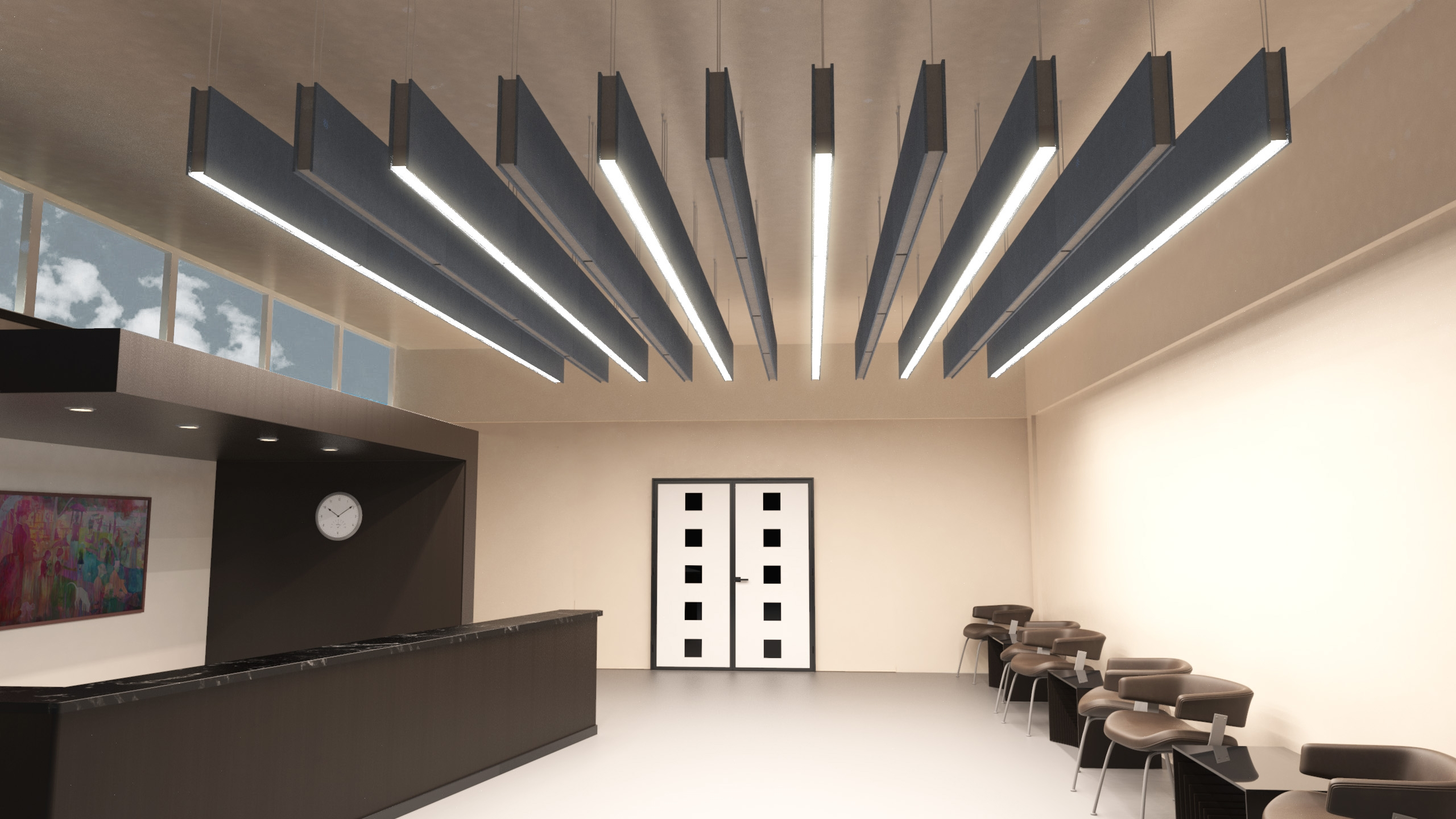 hanging acoustic baffles with light