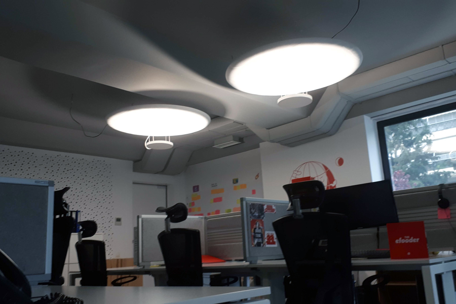 office ceiling acoustic panels with light