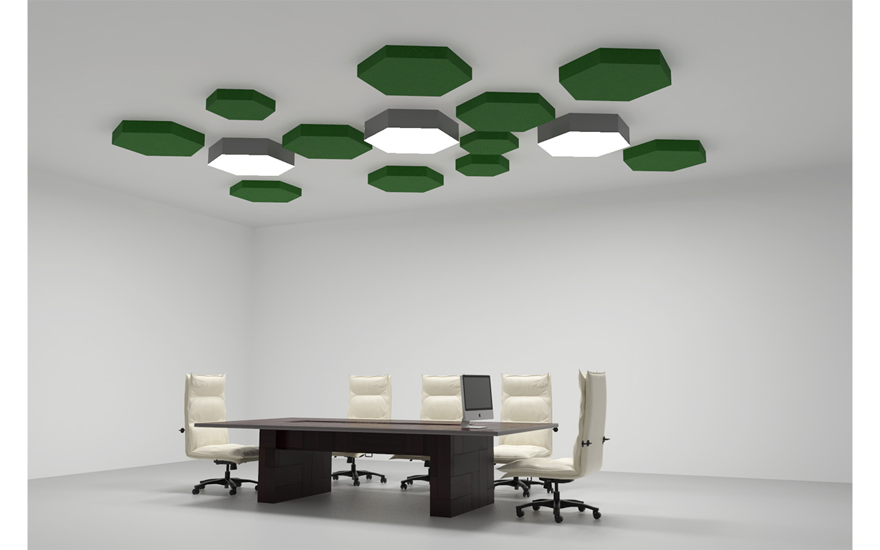 polygonal hexagonal light acoustic panels green
