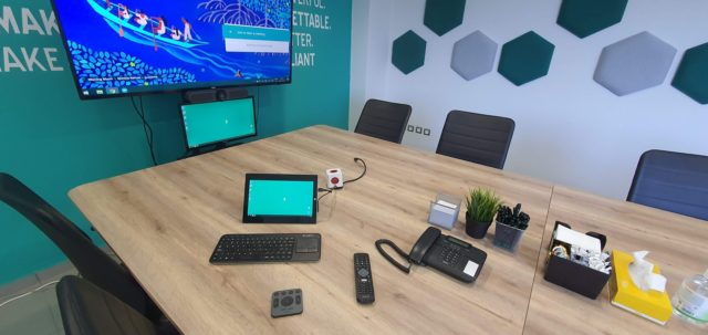 polygonal sound absorbing panels conference room