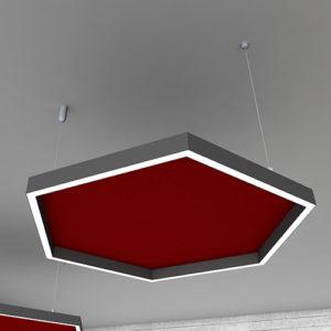 ηχοαπορροφητικό πλαίσιο οροφής με περιμετρικό φωτισμό
