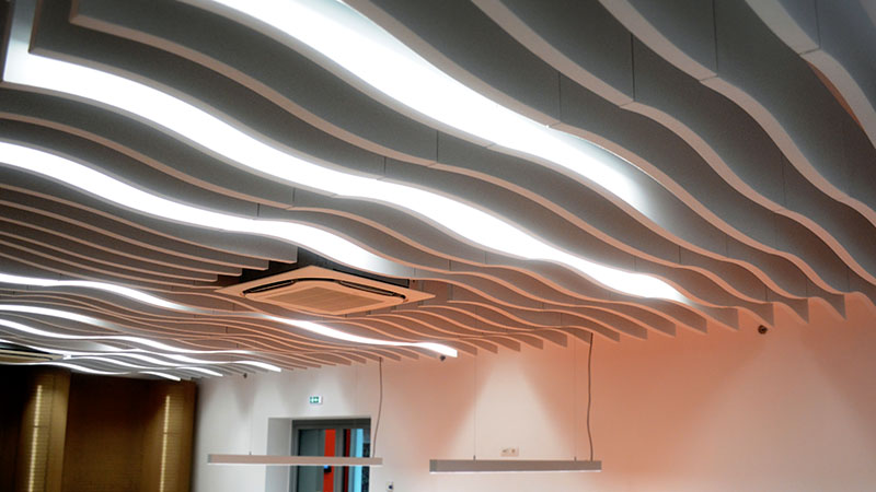 sinewave ceiling acoustic baffle in restaurant