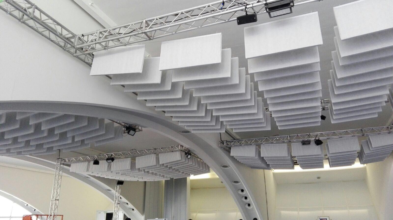 acoustic baffles white in stadium