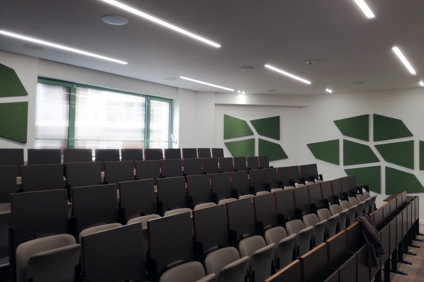 lecture room with acoustic panels