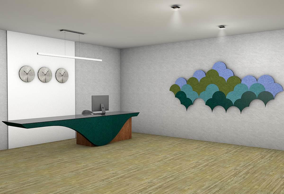 woollen acoustic panels reception desk