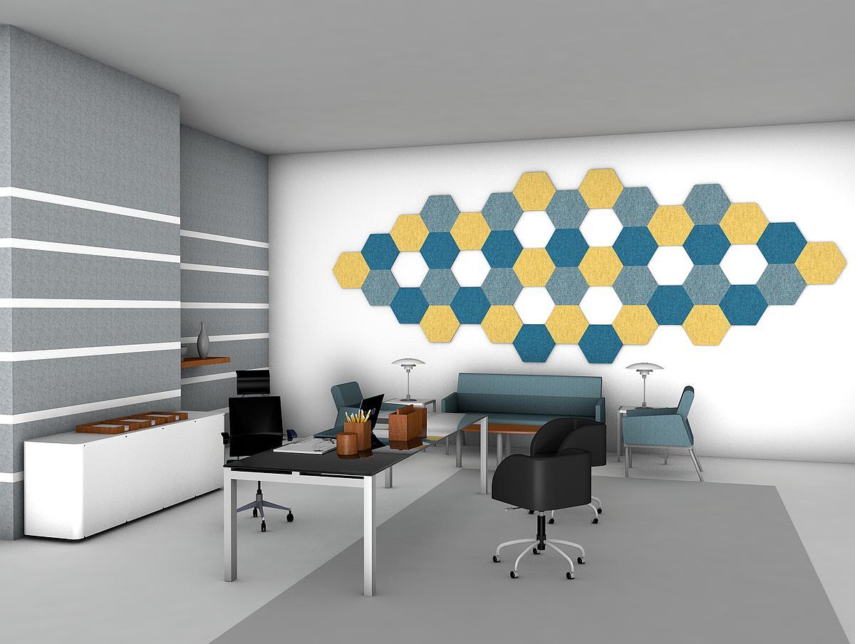 woollen hexagon acoustic panels