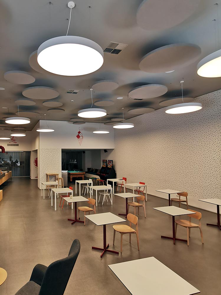 dining hall ceiling acoustic panels with light