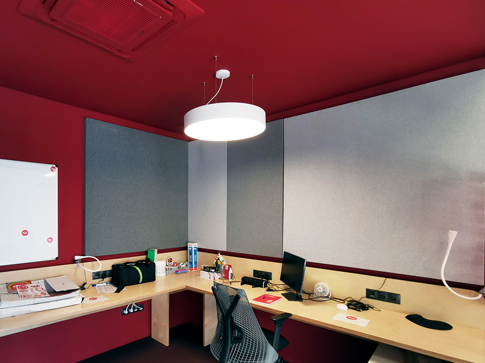 circular acoustic panel with light
