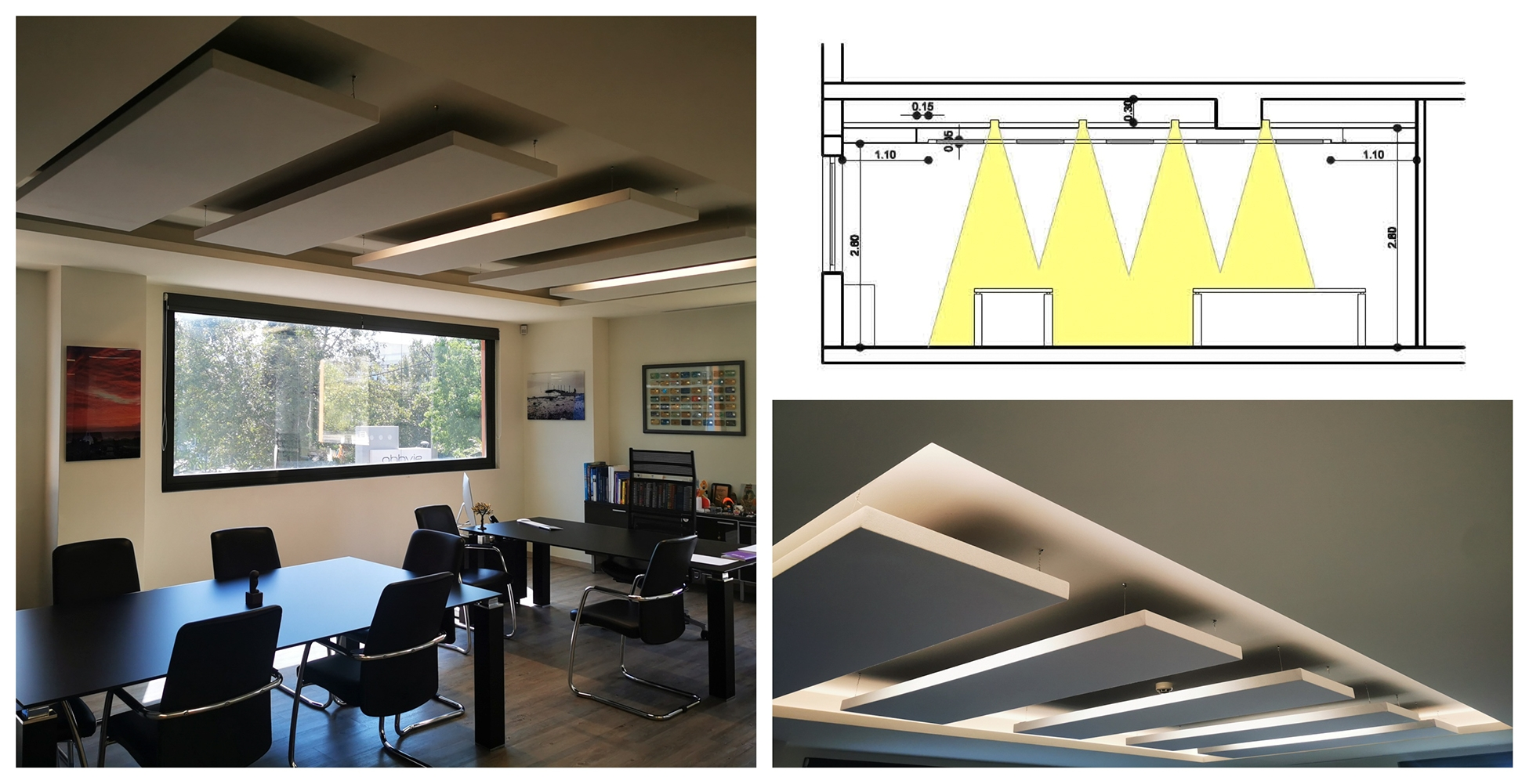 ceiling acoustic panels with lights